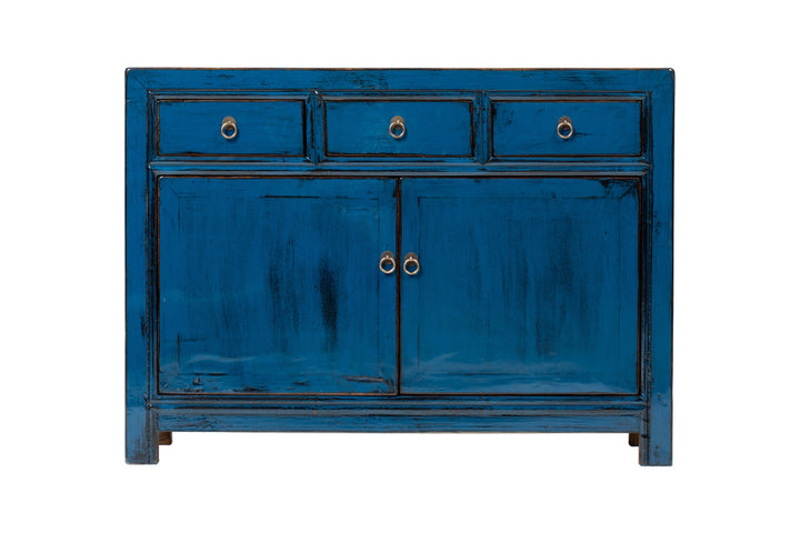 Blue 3 Drawer 2 Door Square Cabinet, Elm. New