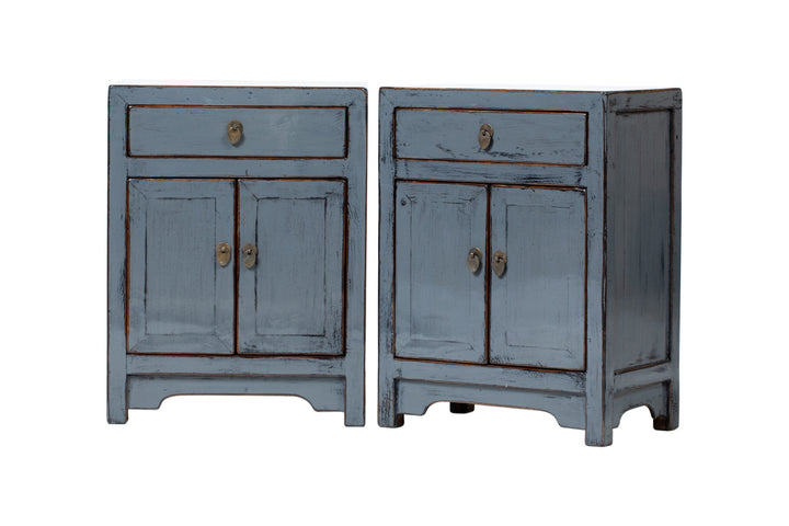 Pair of Grey 1 Drawer 2 Door Bedside Cabinets. New, Made From Reclaimed Wood. Poplar