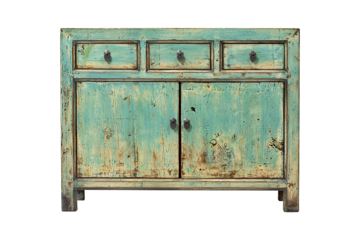 Green-Blue 3 Drawer 2 Door Square Cabinet. New, Made From Reclaimed Wood. Pine