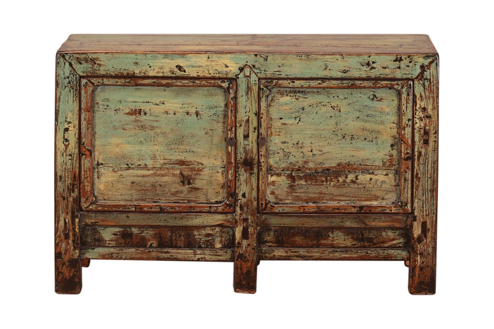 Antique Distressed Green Shandong Cabinet with 2 Doors, Pine. Circa 1900