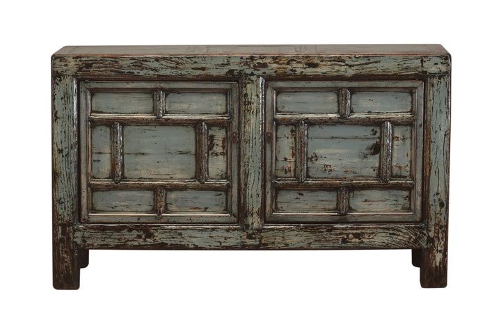 Antique Distressed Green Gansu Cabinet with 2 Doors, Pine. Circa 1920