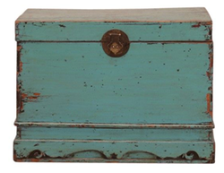 Large Antique Green Blue Gansu Chest with Carvings, Circa 100 Y/O. Elm.