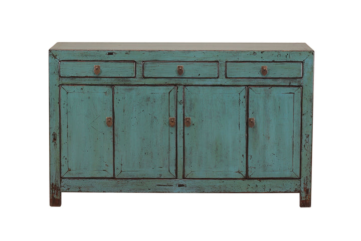 Antique Blue Dongbei Cabinet Circa 1920. Pine