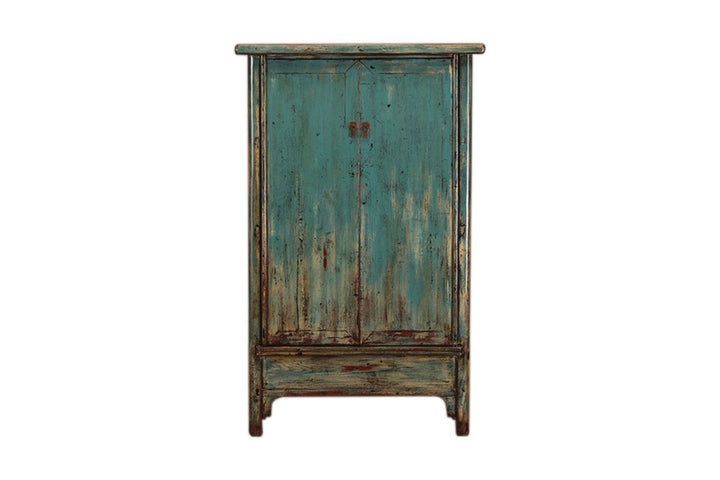 Antique Blue Shanxi Cabinet with 2 Doors Circa 1920. Pine