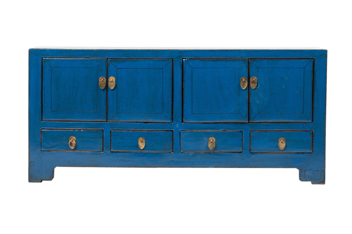 Antique Blue Dongbei 4 Door 4 Drawer Low Sideboard Circa 100 Y/O. Elm