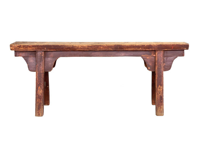 Antique Faded Red Hebei Bench, Circa 100 Y/O. Elm.
