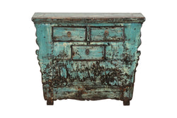 Antique Blue Shanxi Cabinet with 3 Drawers, C.1920