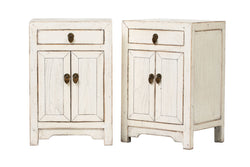 Pair of White Small Side Cabinets with 1 Drawer and 2 Doors. Elm, New