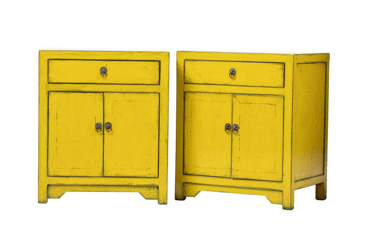 Pair of Yellow Two Door Bedside Cabinets. , New