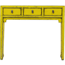 Yellow 3 Drawer Console Table. Elm, New