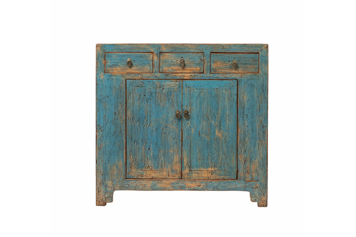 Blue Mid-Tall Cabinet. Pine, New
