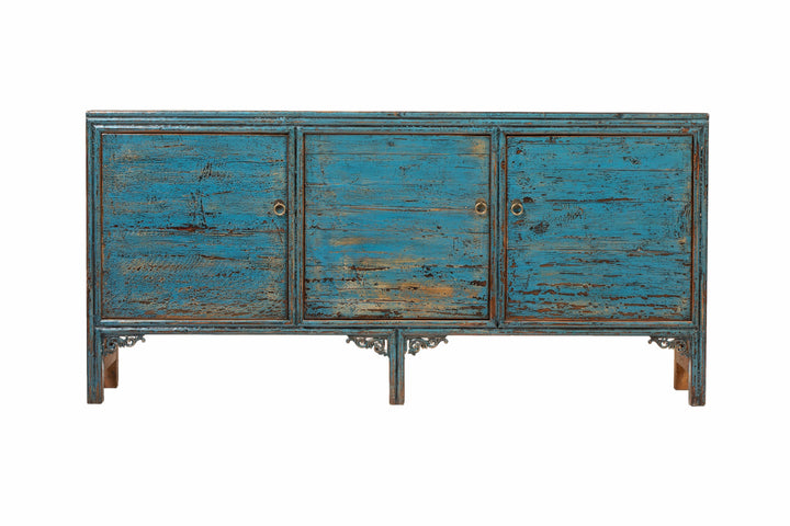 Blue Cabinet with 3 Doors. Pine, New