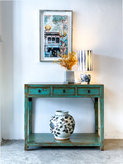 Vintage Green Shanxi Console Table with 3 Drawers, Circa 60-80 Y/O