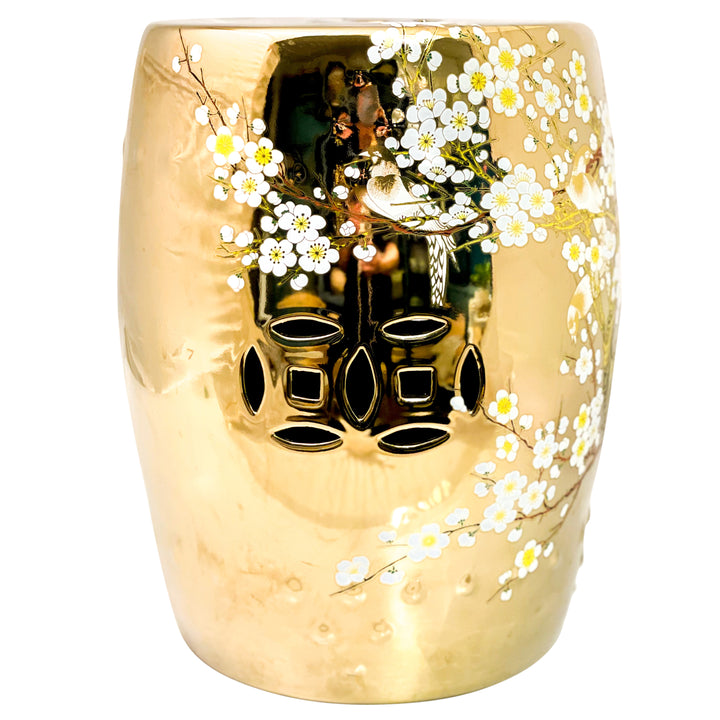 Ceramic Drum Stool - Painted, Gold