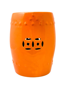 Ceramic Drum Stool - Plain, Orange