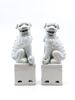 Pair of Ceramic Foo Dogs, White