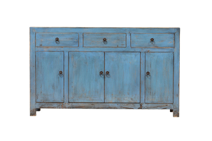 Vintage Blue Dongbei 3 Drawer 4 Door Sideboard Circa 80-100 Y/O. Pine