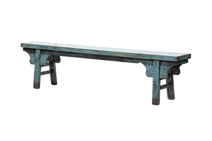 Vintage Blue Shandong Low Bench, Circa 40 Y/O