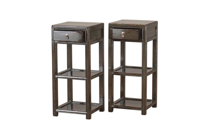 Grey Pair of Shandong Bedside Tables. New, Made From Reclaimed Wood. Pine