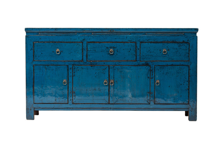 Antique Blue Tianjin 3 Drawer 4 Door Sideboard, Circa 100 Y/O