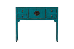 Blue High Legged Console Table with 2 Drawers and 4 Doors. New, Made From Reclaimed Wood. Elm