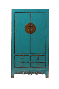 Antique Teal Tall Hebei Cabinet Circa 100 Y/O. Elm