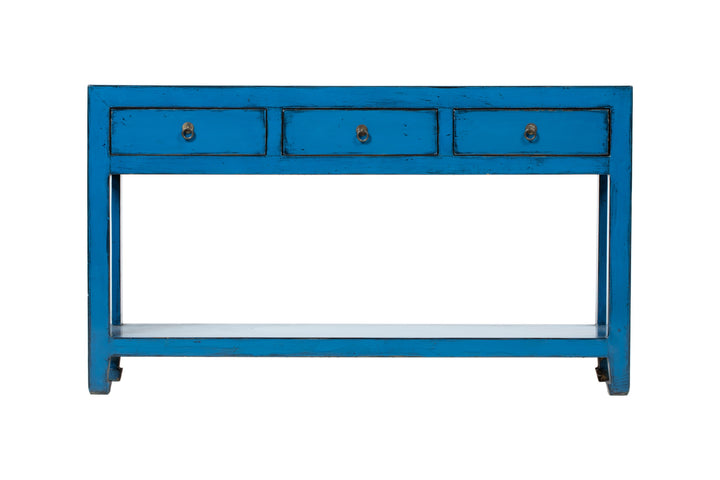 Blue Console with 3 Drawers and Bottom Shelf, Elm. New