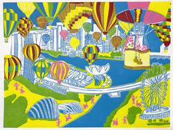 Singapore Kitten Balloon Drop by John J Mathis Limited Edition Print