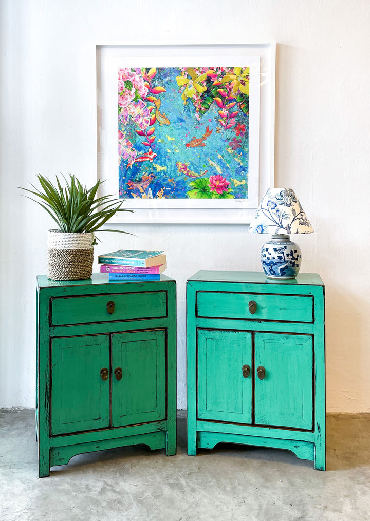Pair of Sea Foam Green 1 Drawer 2 Door Bedside Cabinets. New, Made From Reclaimed Wood. Poplar