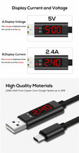 Load image into Gallery viewer, QC3.0 2.4A Voltage Current Fast Charging Data Cable with LCD Display - Micro PIN