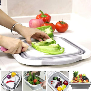Foldable 3 in 1 Multi Functional Kitchen Collaspible Cutting,Chopping Board,Vegetable,Fruit Washing,Dish Tub Storage Basket with Draining Plug Board Dish Sink Tub Vegetable Basket