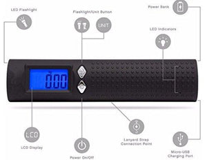 3 In 1 Portable Travel Scale with Flashlight and Power Bank