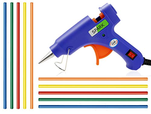 GLUN 7 mm Hot Melt Glue Gun with on off Switch, LED Indicator and Coloured Glue Sticks (20W)