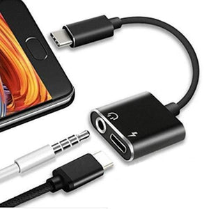 USB C Audio and Charging Jack 2 in 1 Type-C 3.5 mm & Type- C Female Jack Earphone and Charging Adapter