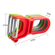 Load image into Gallery viewer, Magic Peeler Trio Swivel Fruit Vegetable Straight Serrated Julienne Stainless Steel Sharp Blade Peeler with Non-Slip Handle (Set of 3)