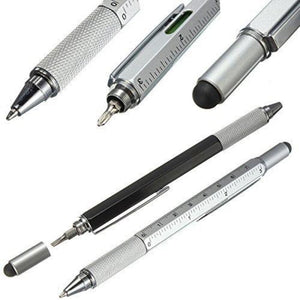 6 in 1 Multi function Screw Driver Ball Point Pen Stylus - Black