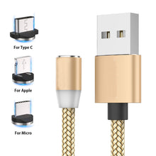 Load image into Gallery viewer, Nylon Braided 3 in 1 Magnetic USB Cable For All Smartphones - Golden