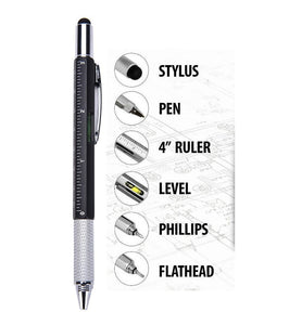 6 in 1 Multi function Tech Tool Pen with Ruler, Screw Driver,  Ball Point Pen With Stylus - Blue