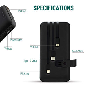 10000mAH Power Bank with inbuilt cables for all smartphones