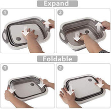 Load image into Gallery viewer, Foldable 3 in 1 Multi Functional Kitchen Collaspible Cutting,Chopping Board,Vegetable,Fruit Washing,Dish Tub Storage Basket with Draining Plug Board Dish Sink Tub Vegetable Basket