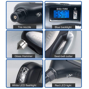 9 in 1 Auto Car Emergency Tool with Digital Tyre Gauge KoolGadgets