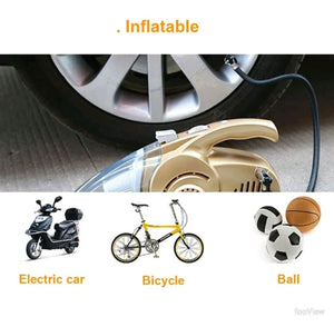 4 in 1 Multi-Function Wet And Dry Dual Use Car Vacuum Cleaner + Car Tire Inflator with LED Light