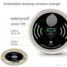 Load image into Gallery viewer, 2 in 1 Office Desk Qi Enabled Fast Wireless and USB charger