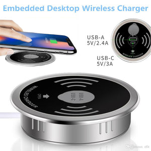 2 in 1 Office Desk Qi Enabled Fast Wireless and USB charger