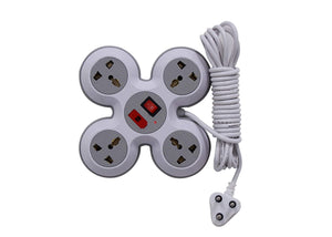 4 Socket Quad Extension Box with Fuse and 2 Metre / 4 Metre long wire
