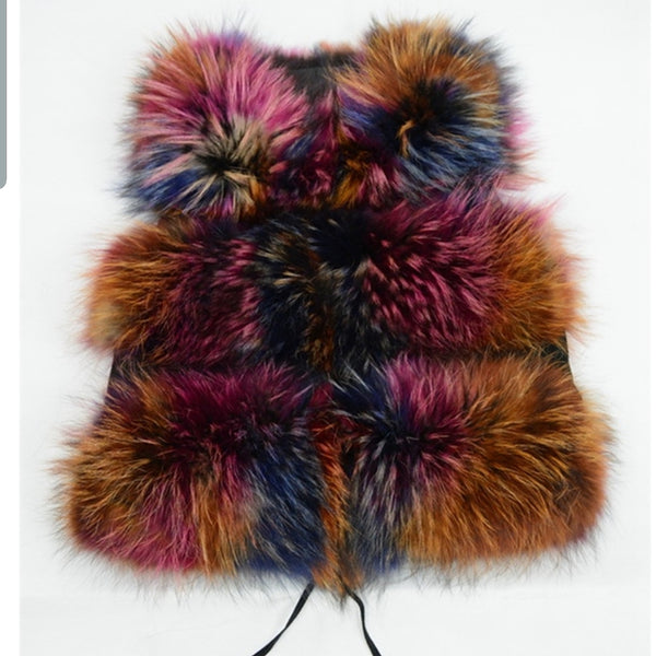 Multicolored racoon fur gilet