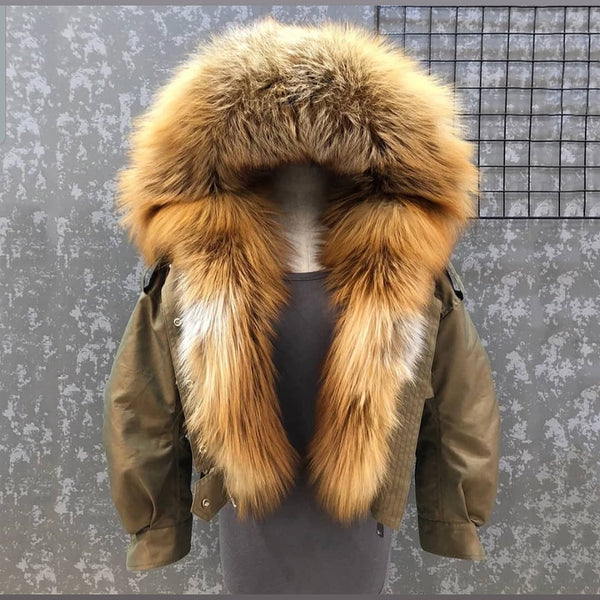 CALLY red fox fur hooded bomber