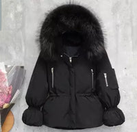Fox fur hooded down feather coat