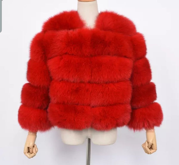 Red fox fur cropped sleeve coat