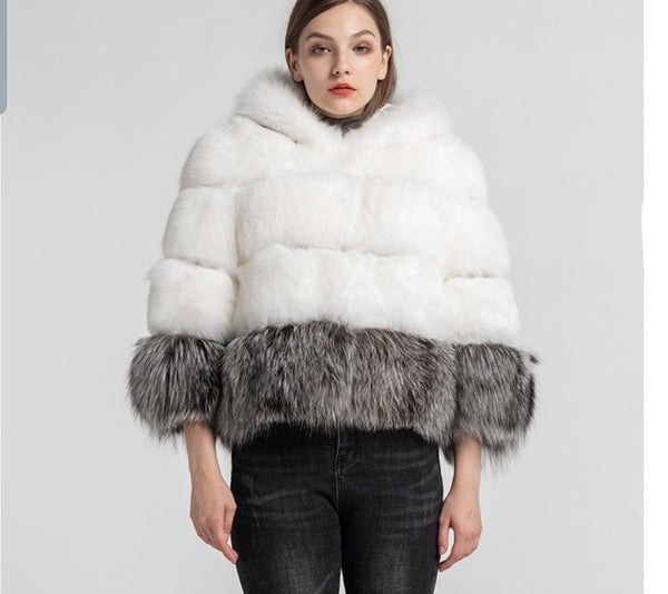 DREAM fox fur hooded coat